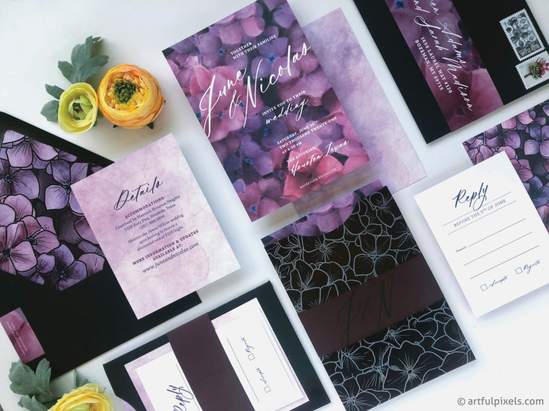 Modern floral wedding invitation suite
