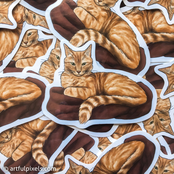 Stack of orange tabby cat stickers