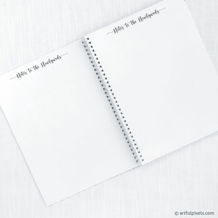 Notes to the Newlyweds blank pages