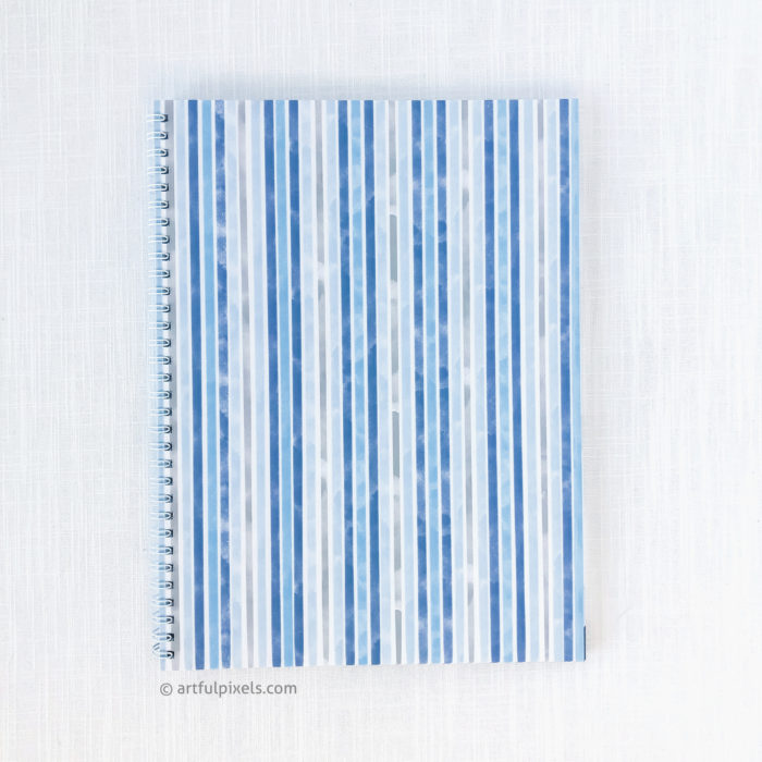 Guestbook back cover design with blue watercolor stripe design