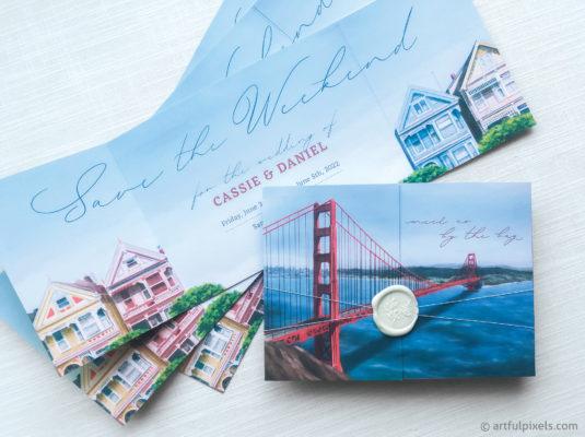 San Francisco Save the Dates featuring Golden Gate Bridge