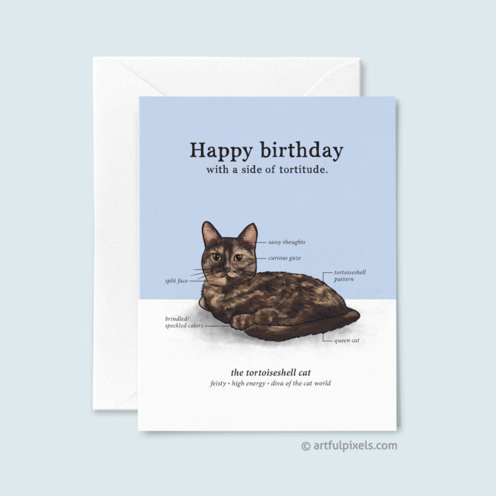 Birthday greeting card featuring a cute drawing of the tortoishell cat pointing out its different traits in an infographic format.
