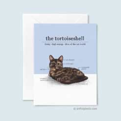 A Just Because greeting card featuring an infographic drawing of the tortoiseshell cat.
