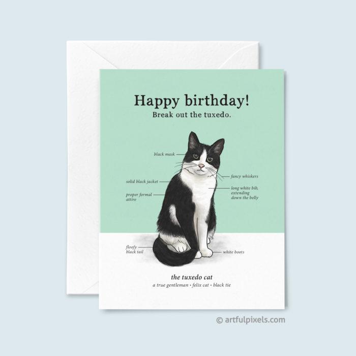 Tuxedo Cat Birthday Card with cute infographic chart of tuxedo cat traits