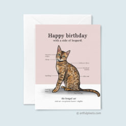 Bengal Cat Birthday Card with cute infographic chart of bengal cat traits