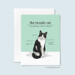 Tuxedo Cat Greeting Card with fun infographic chart of tuxedo cat traits