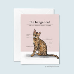 Bengal Cat Greeting Card with fun infographic chart of tuxedo cat traits