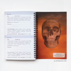 Horror Movie Journal - inside back cover with skull drawing and creepy orange sky background