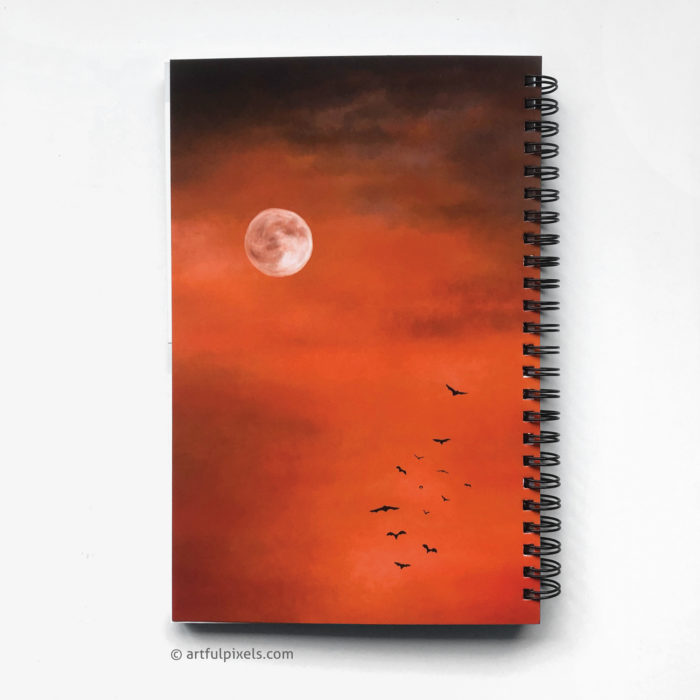 Horror Movie Logbook - back cover design with moon and creepy orange sky