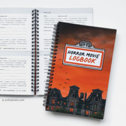 Horror Movie Logbook - front cover of journal plus inside spread of rating sections